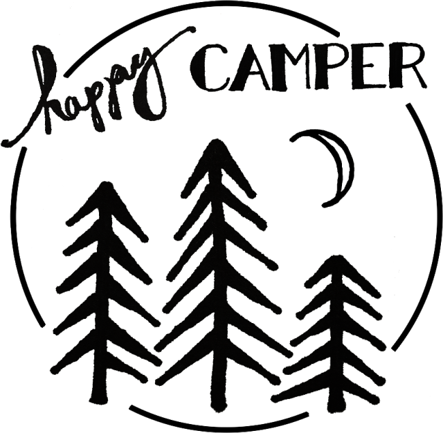 Flamingo clipart glamper. Happy camper stencil for