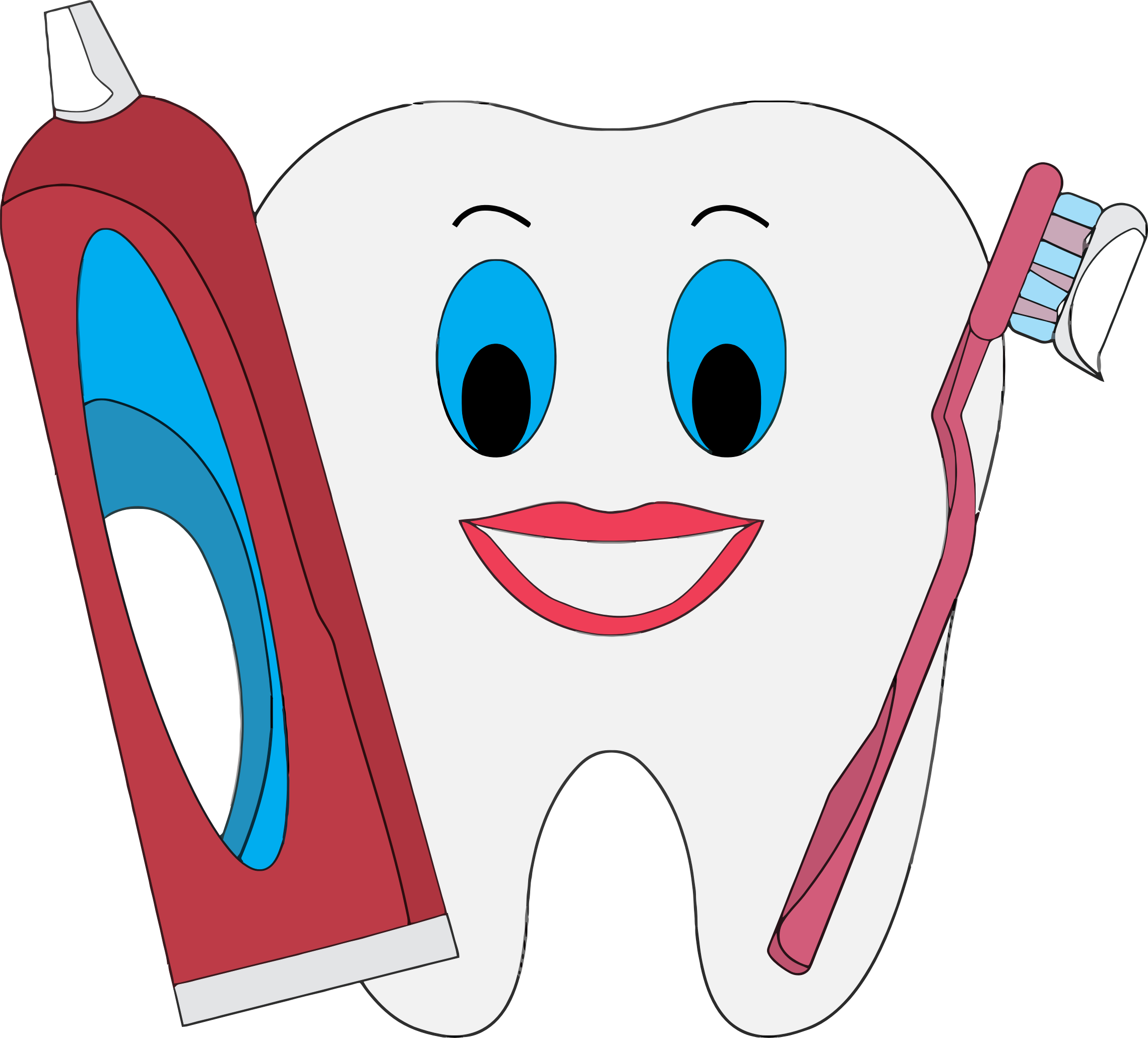 Clipart happy human. Tooth with toothpaste and
