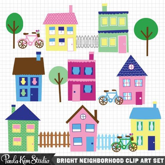 House clip art . Neighborhood clipart little town