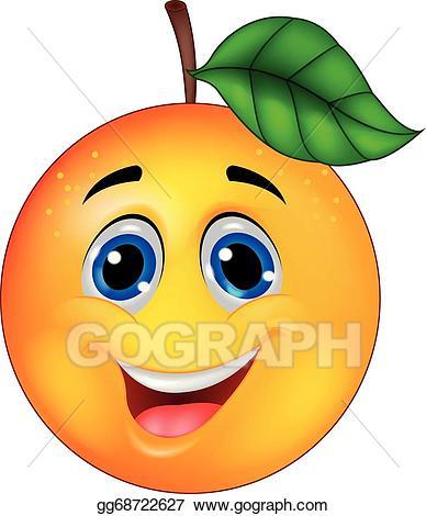 Happy clipart orange. Eps illustration cartoon character