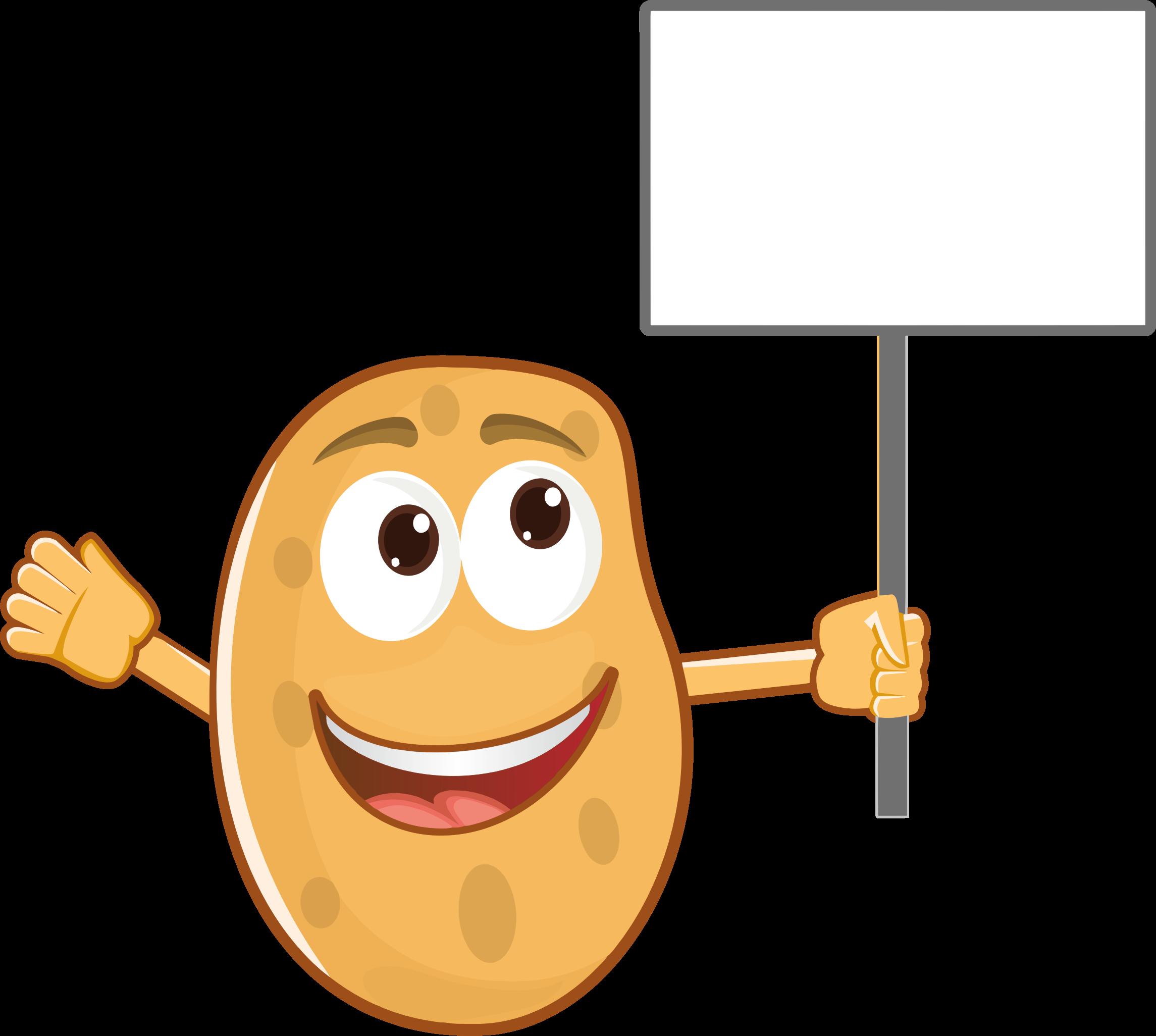 Anthropomorphic holding sign big. Potato clipart smile