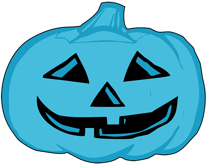 Halloween clipart night. Happy blue pumpkin head