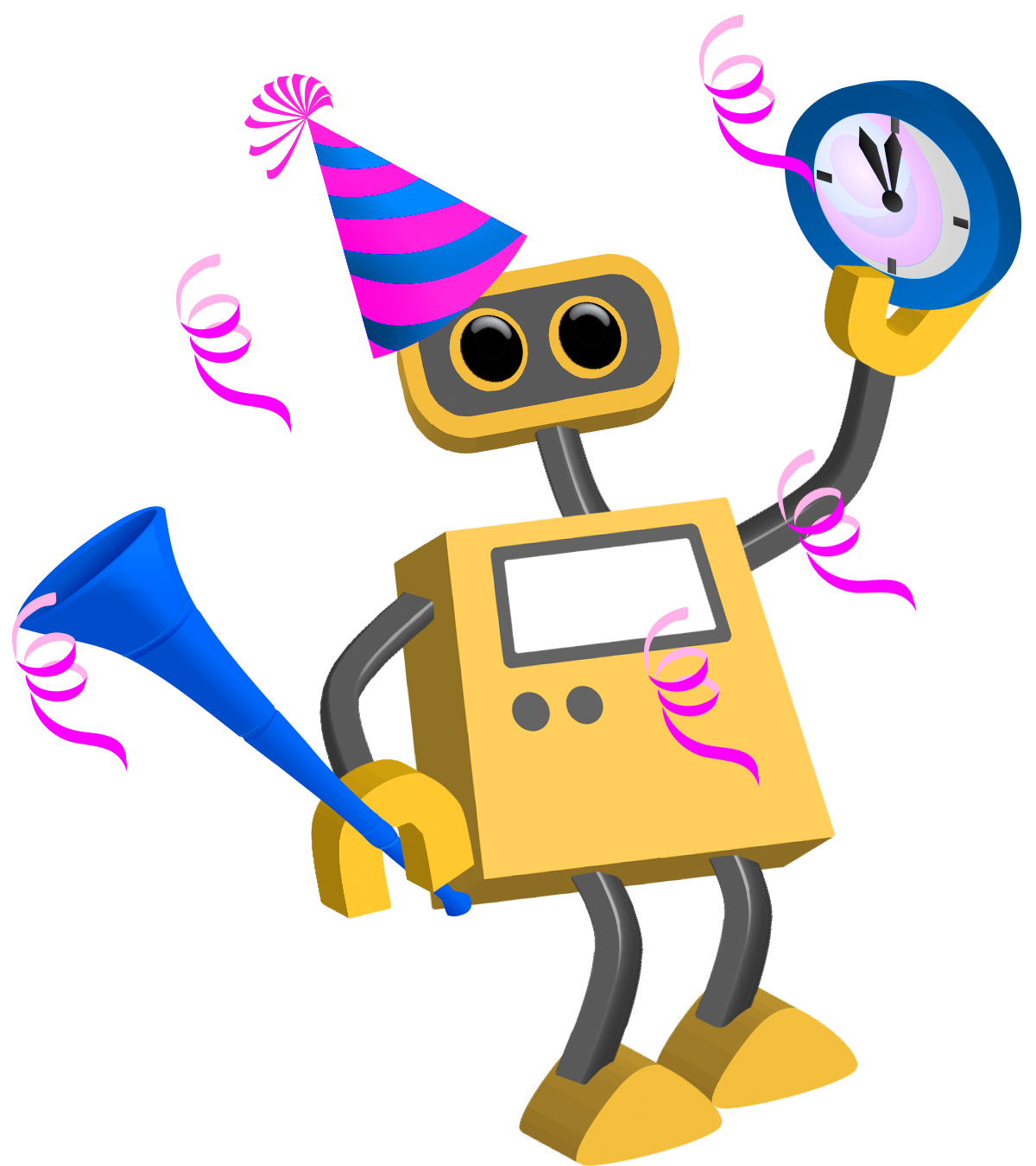 Horn clipart tool. Robot happy new year