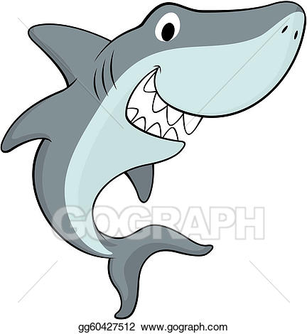Clipart shark happy. Vector stock illustration gg