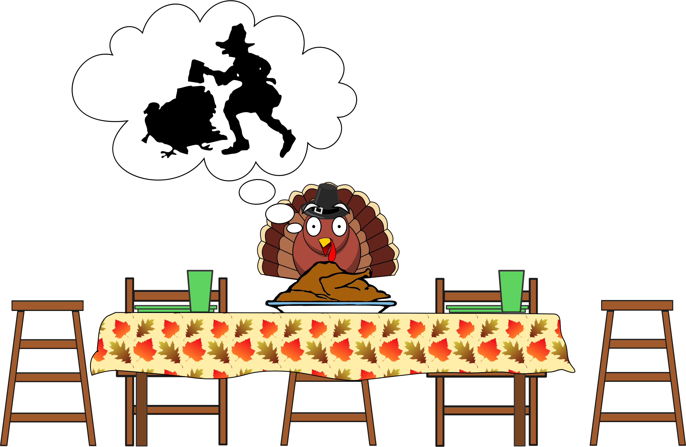 Scared thanksgiving big image. Clipart turkey happy
