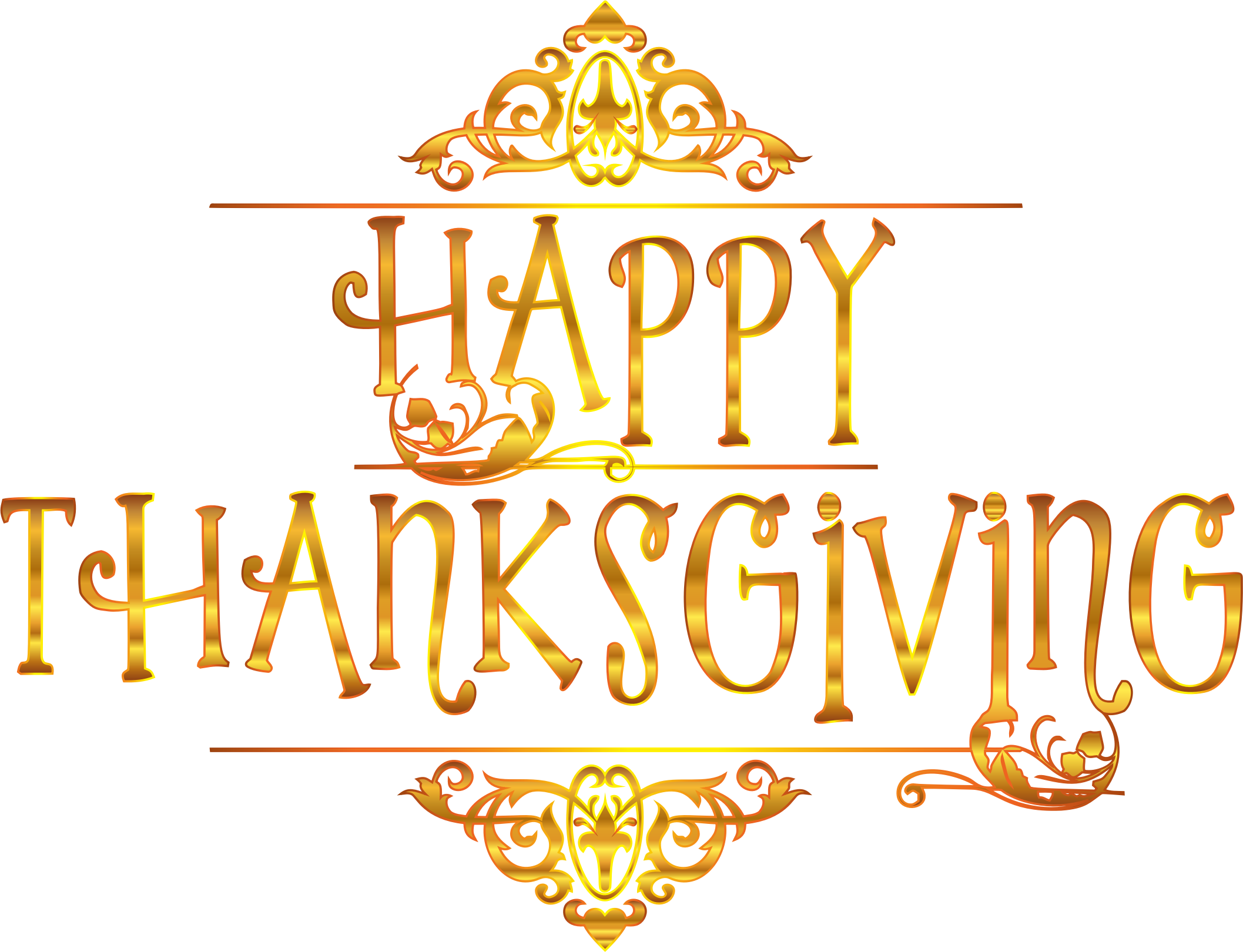 Gold happy typography variation. Words clipart thanksgiving