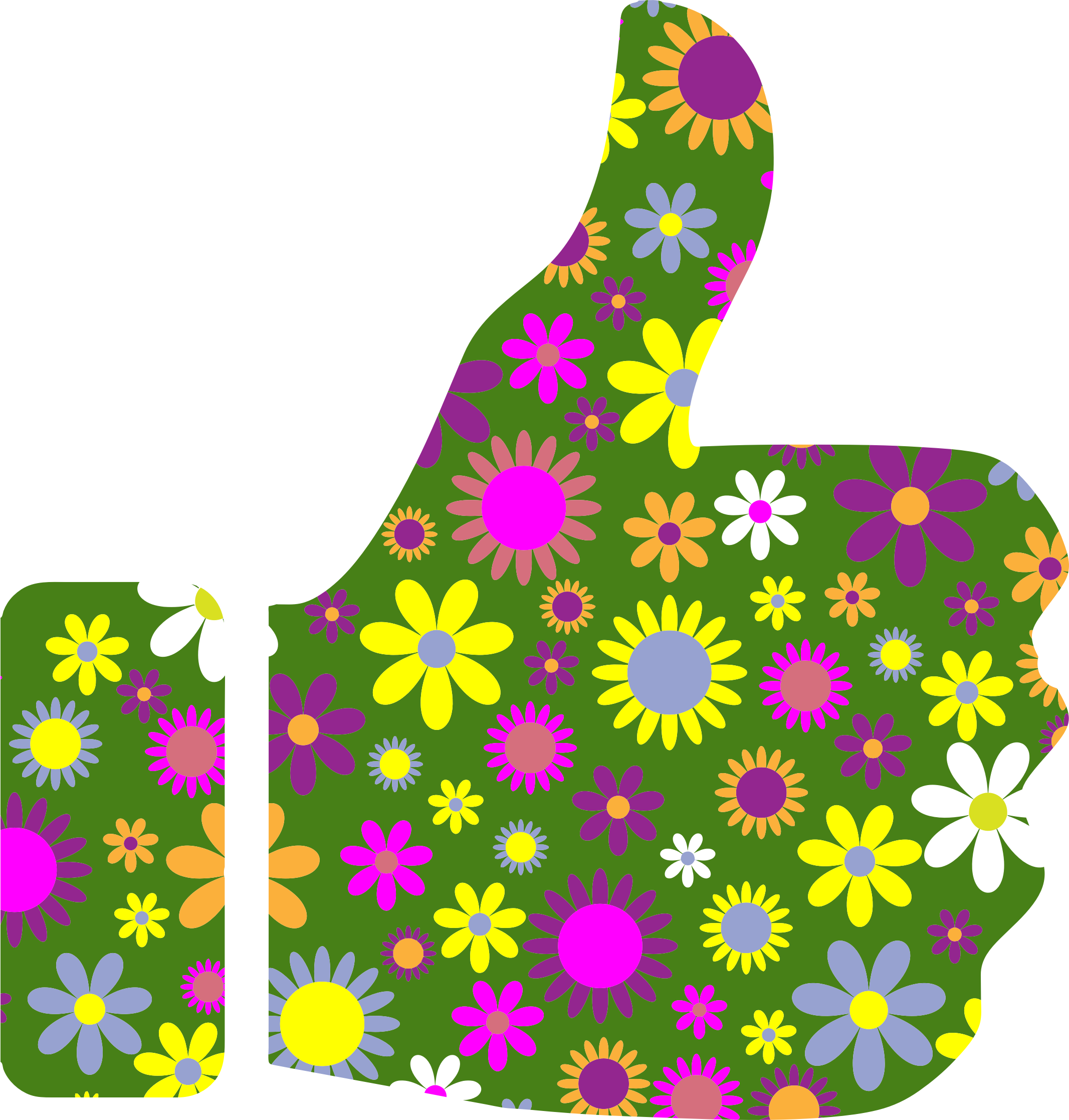 Clipart - Retro Floral Thumbs Up