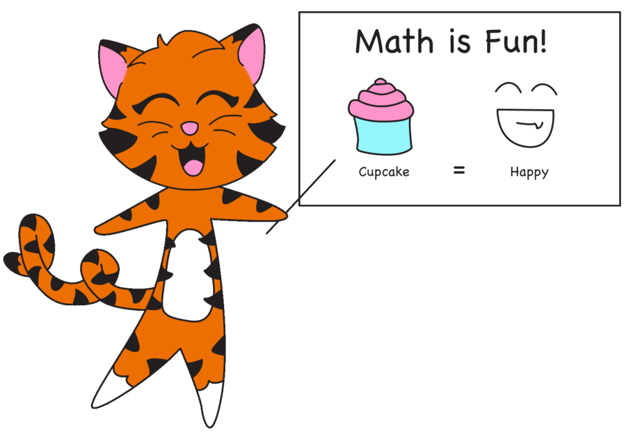 Clipart happy tiger. Cupcake and math by