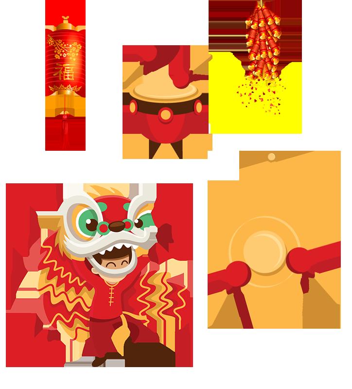 Firecracker clipart lantern. Lion dance chinese new