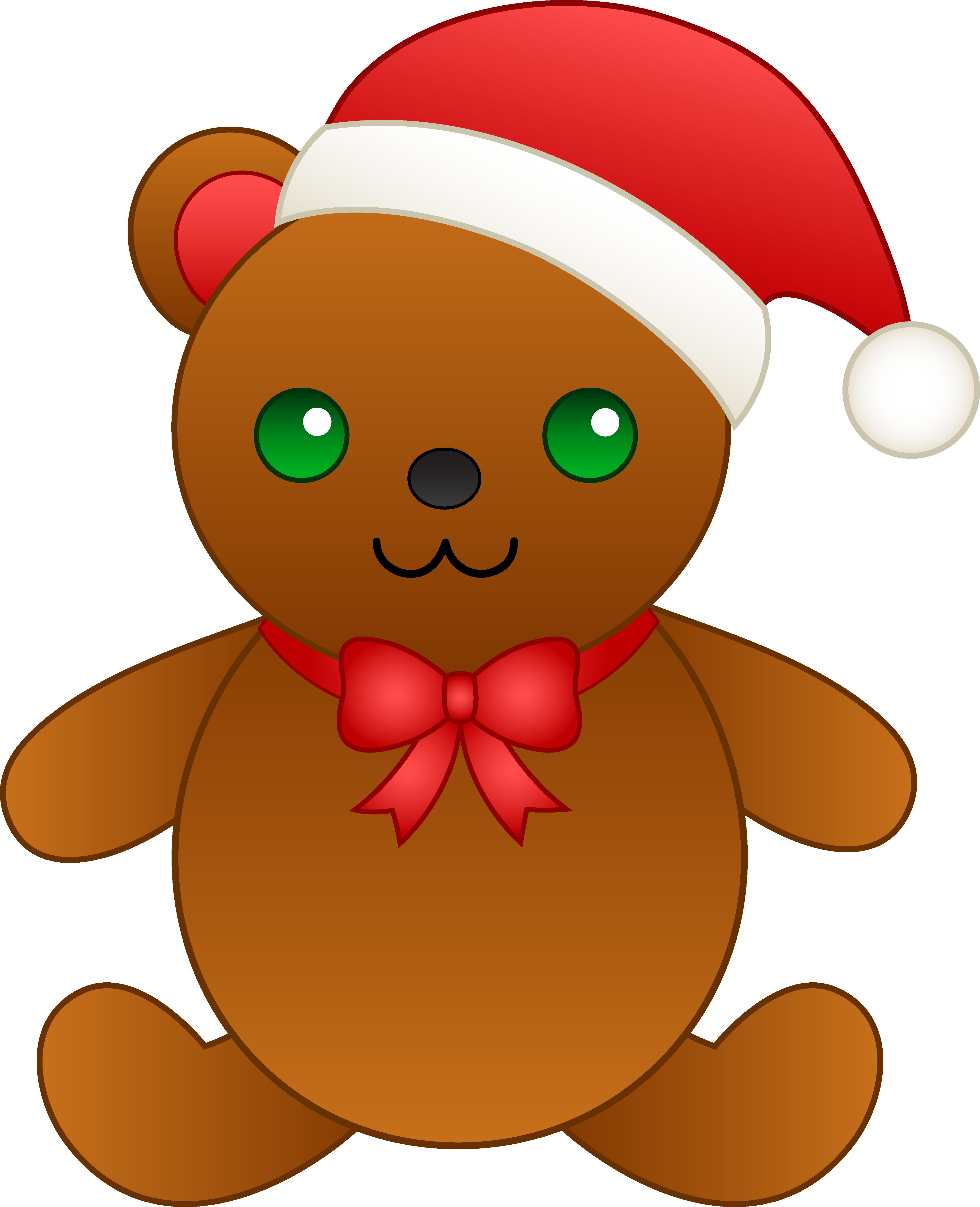 Christmas teddy bear with. Gingerbread clipart santa hat