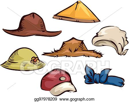 Hats clipart gardener. Eps vector farmer elements