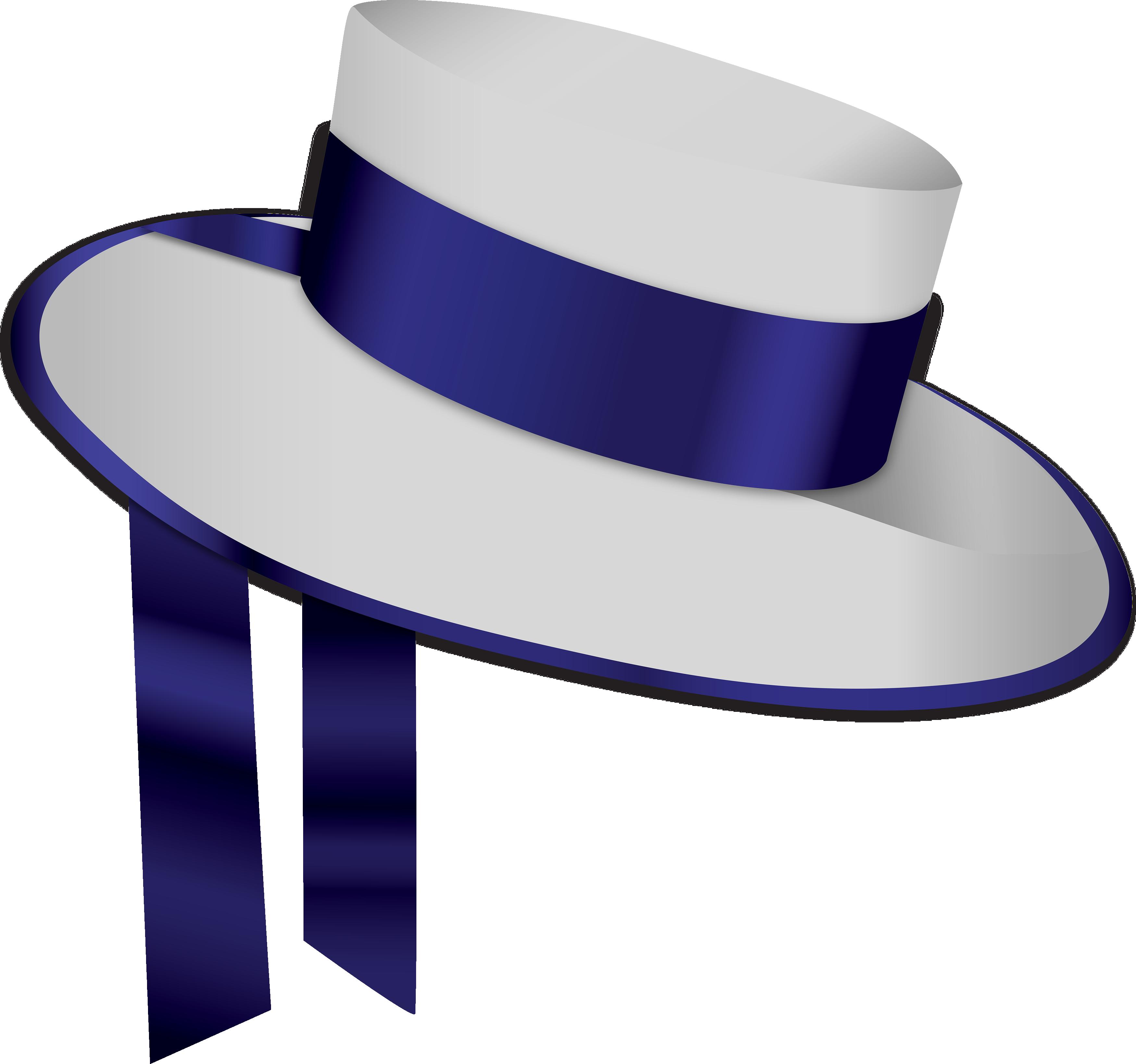 Blue white png image. Fashion clipart fancy hat