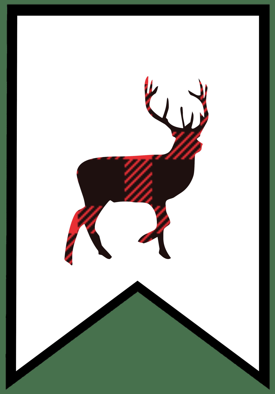 Buffalo free printable banner. Moose clipart plaid