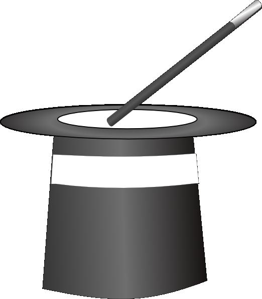 Black white hat clip. Magician clipart magic trick
