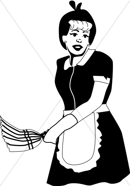 Housekeeping clipart old maid. Fashioned with duster church
