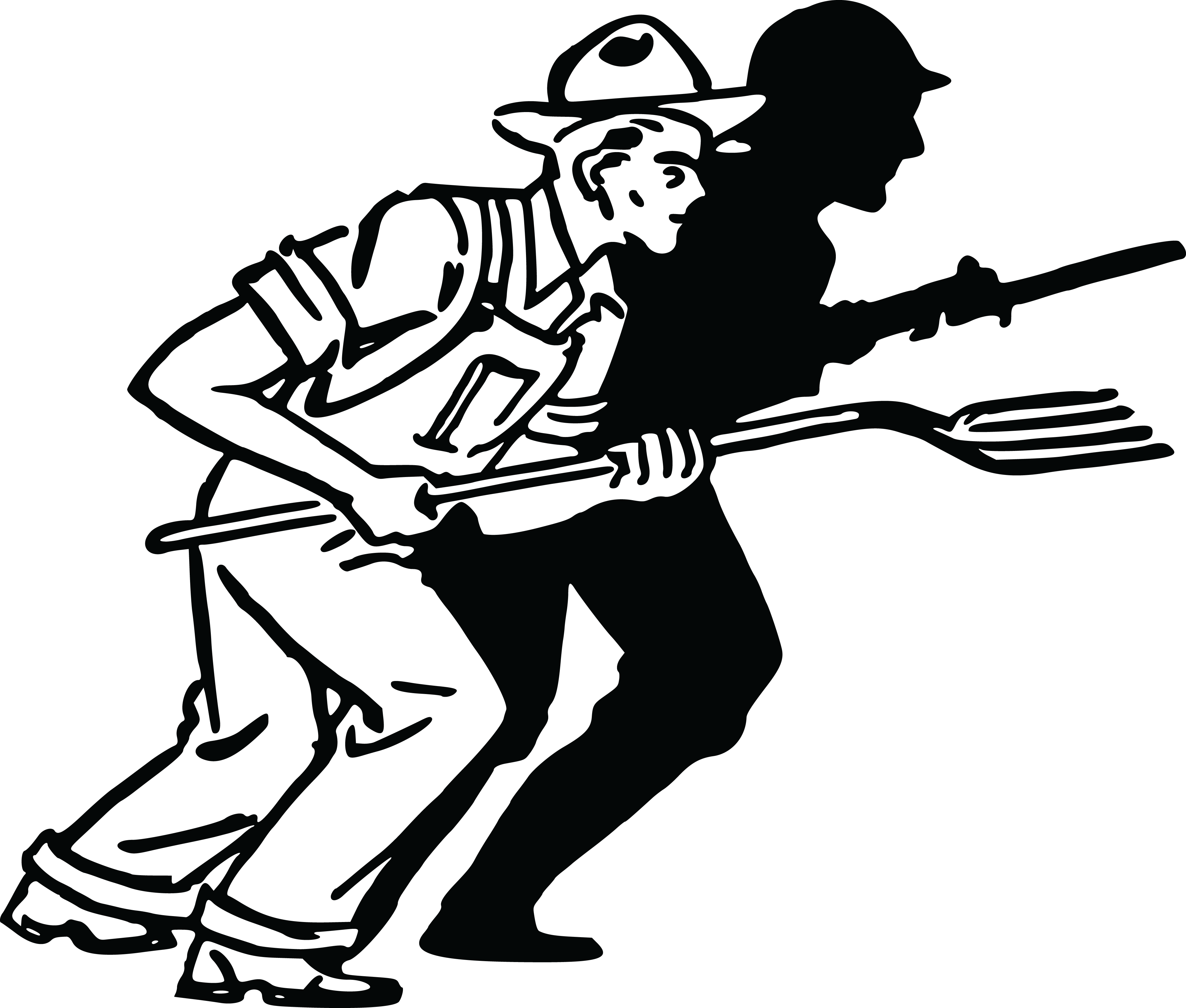 Postcard clipart black and white. Soldiers marching silhouette at