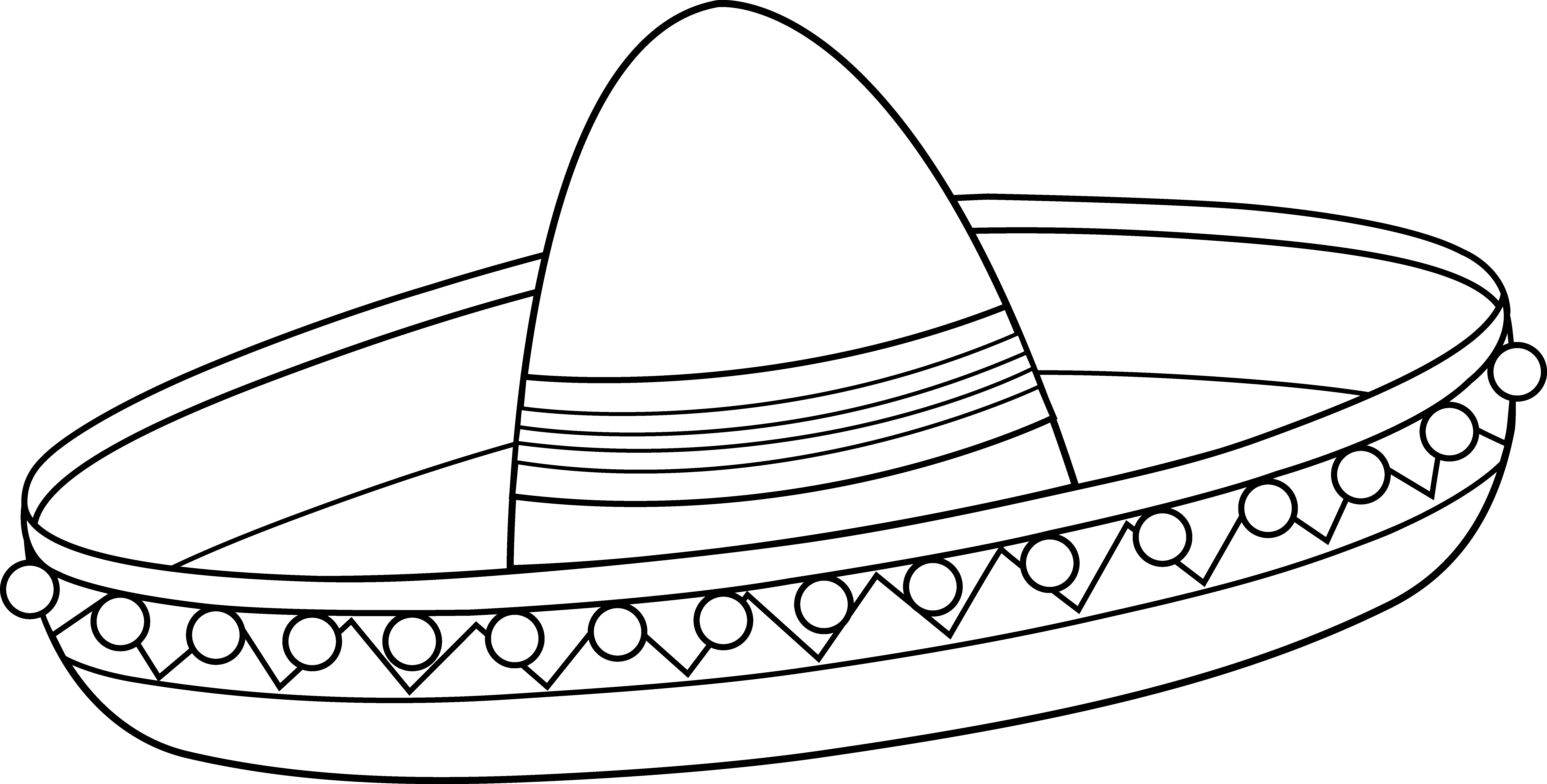 Sombrero coloring page free. Hat clipart mariachi