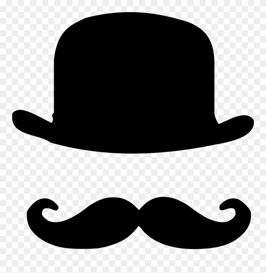 Moustache clipart bowler hat. Handlebar top and mustache