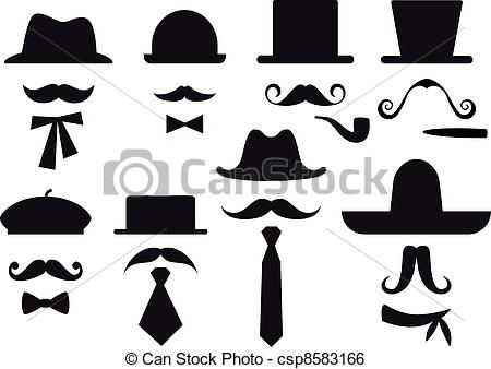 Man with clip art. Clipart mustache man's hat