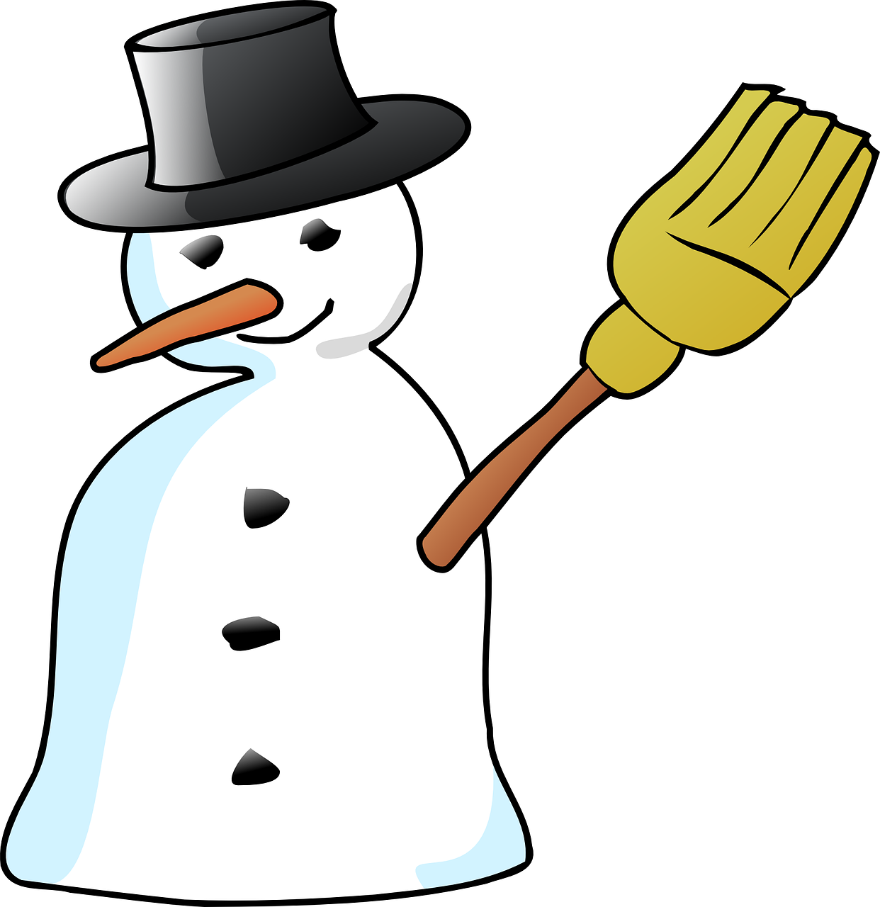 Snowman hat broom carrot. Holiday clipart stick