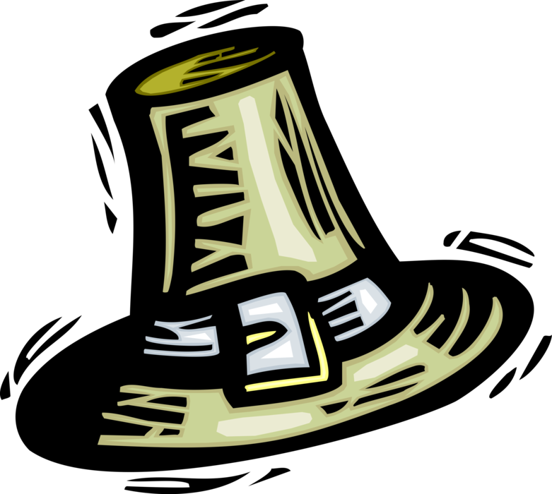 Hat vector image illustration. Pilgrims clipart pioneer