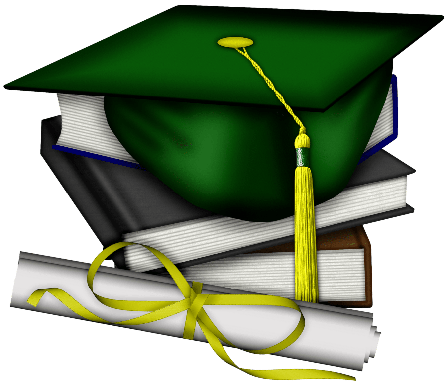 Graduation green and gold. Clipart hat school