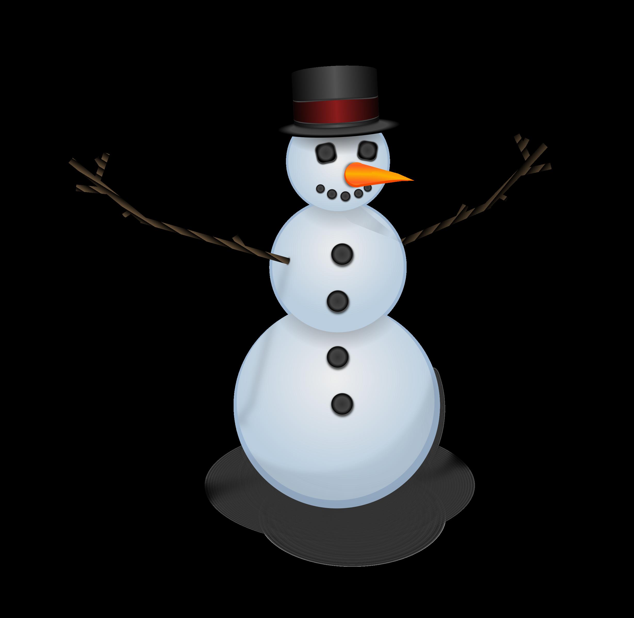 Snow man with hat. Coal clipart snowman
