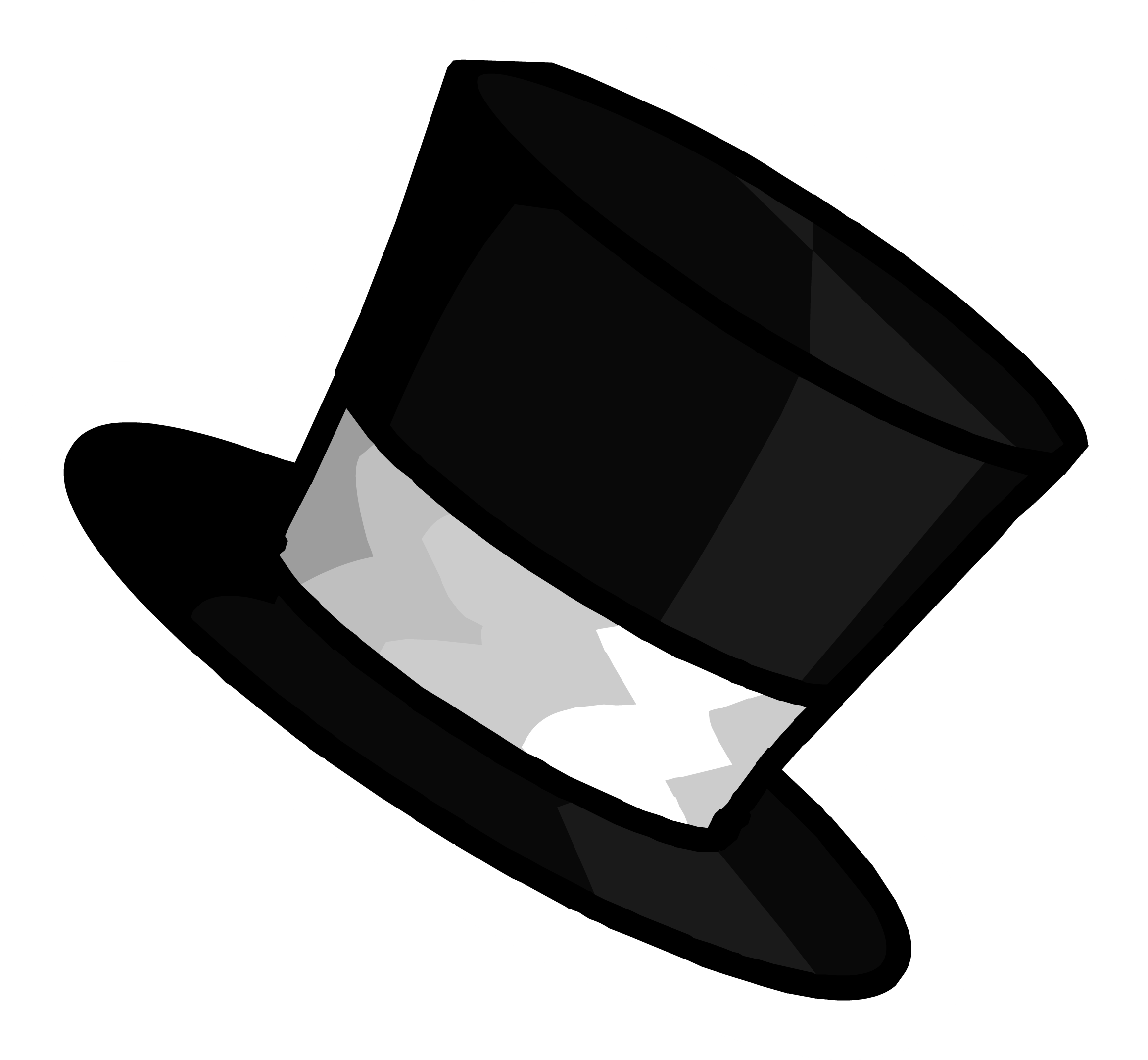 Outline pin club penguin. Steampunk clipart steampunk top hat