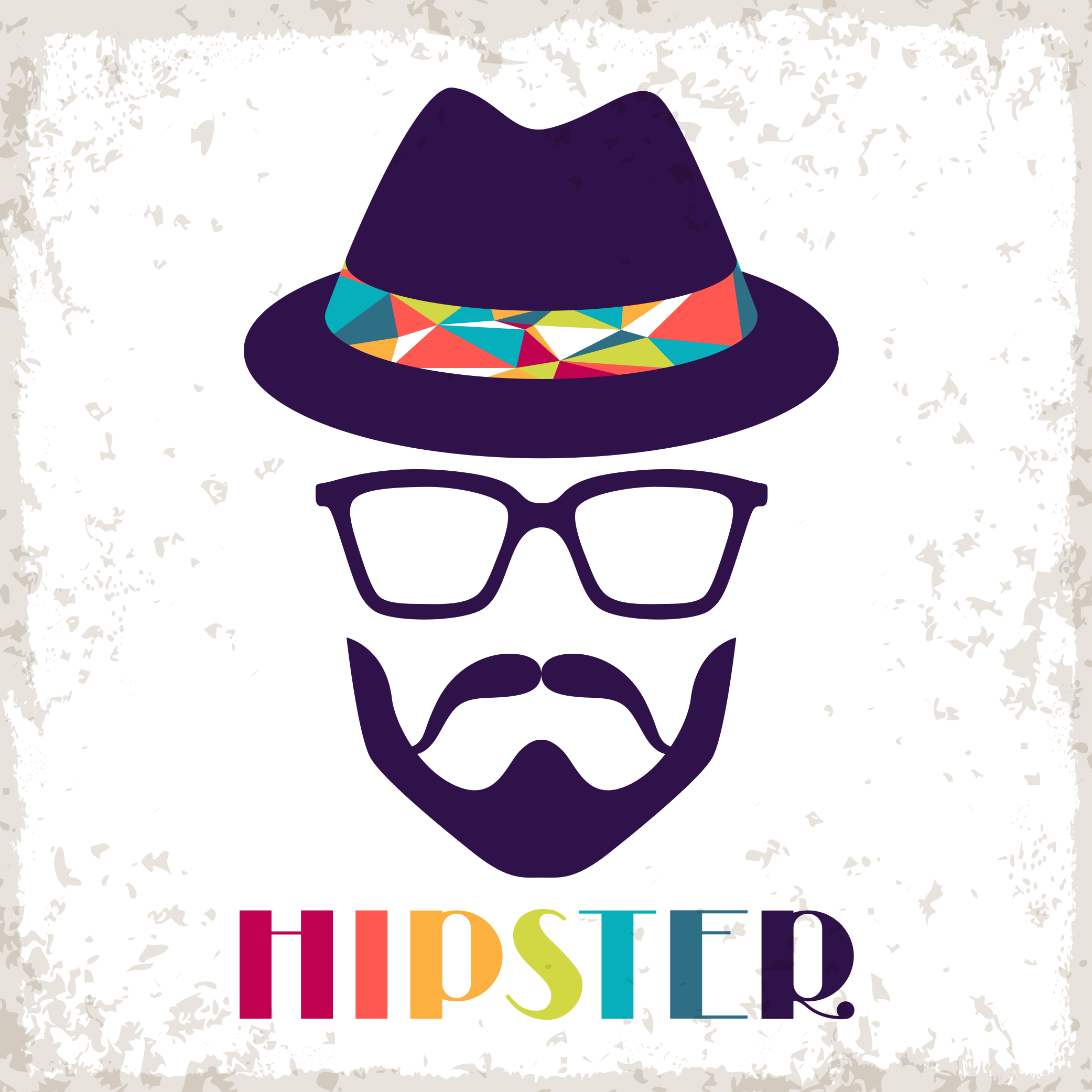 Hipster retro style clip. Sunglasses clipart bearded man