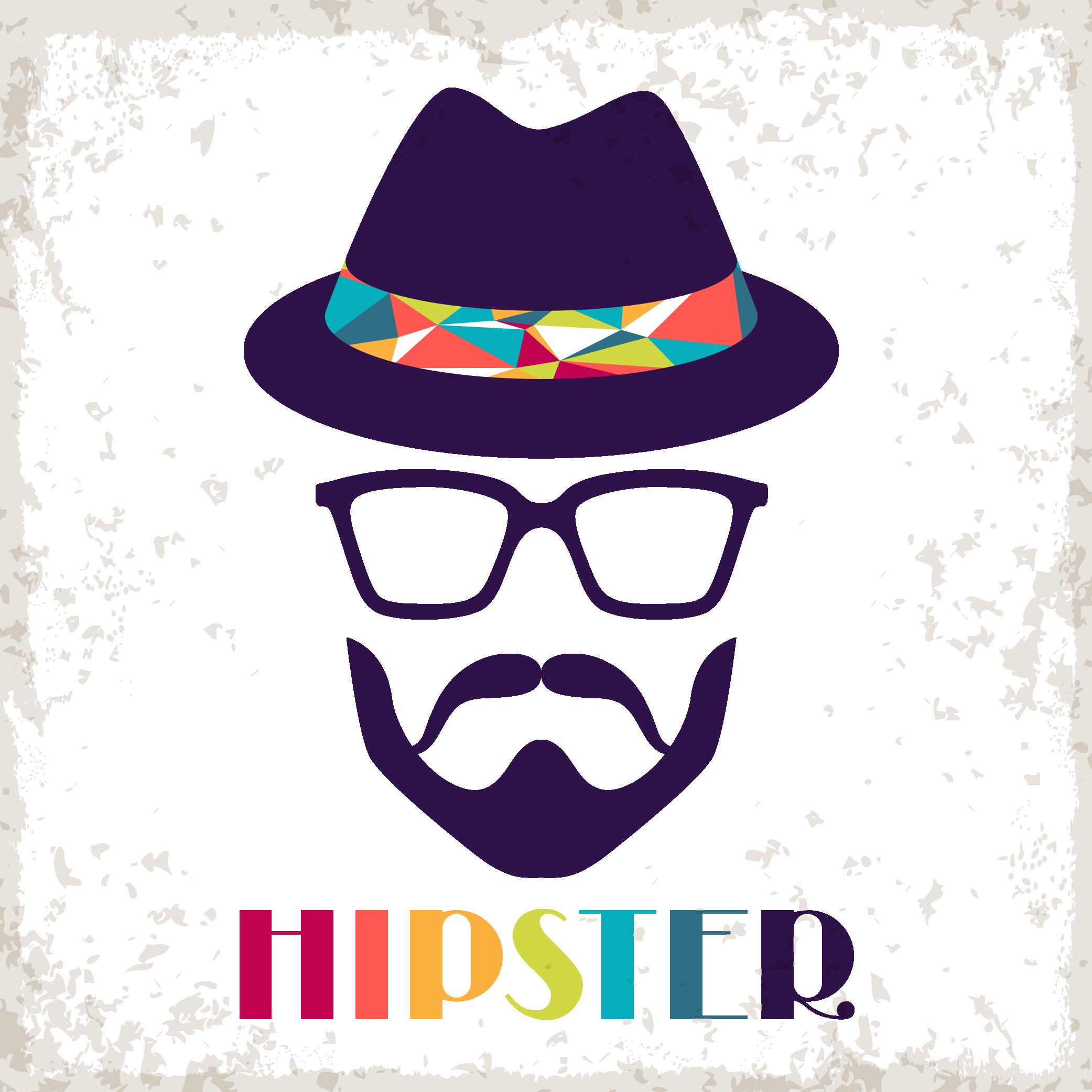 Hats clipart sunglasses. Hipster retro style clip