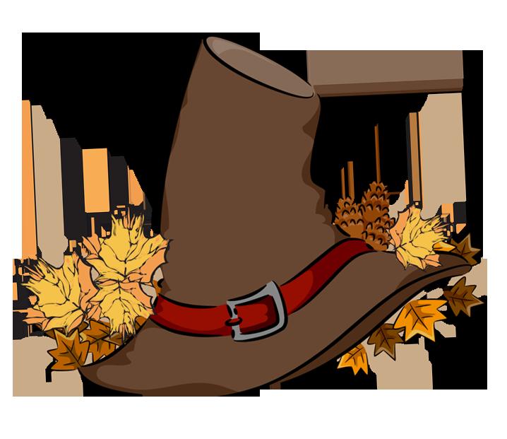 Transparent brown pilgrim hat. Pilgrims clipart school