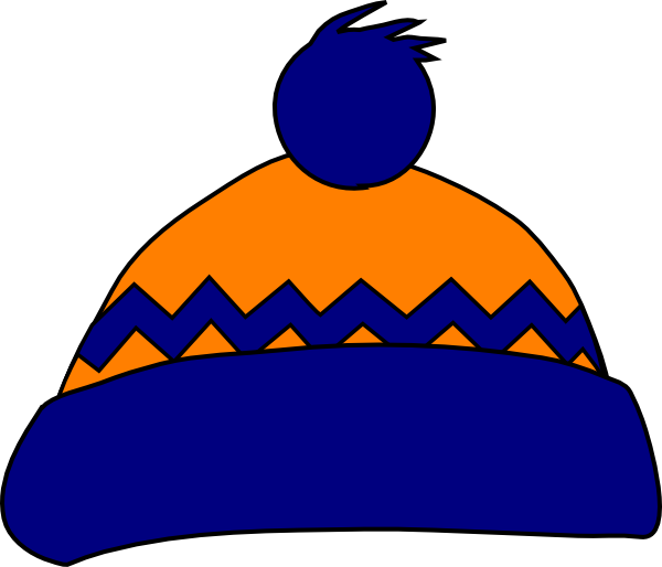 Mittens clipart cold weather clothes. Orange navy stocking cap