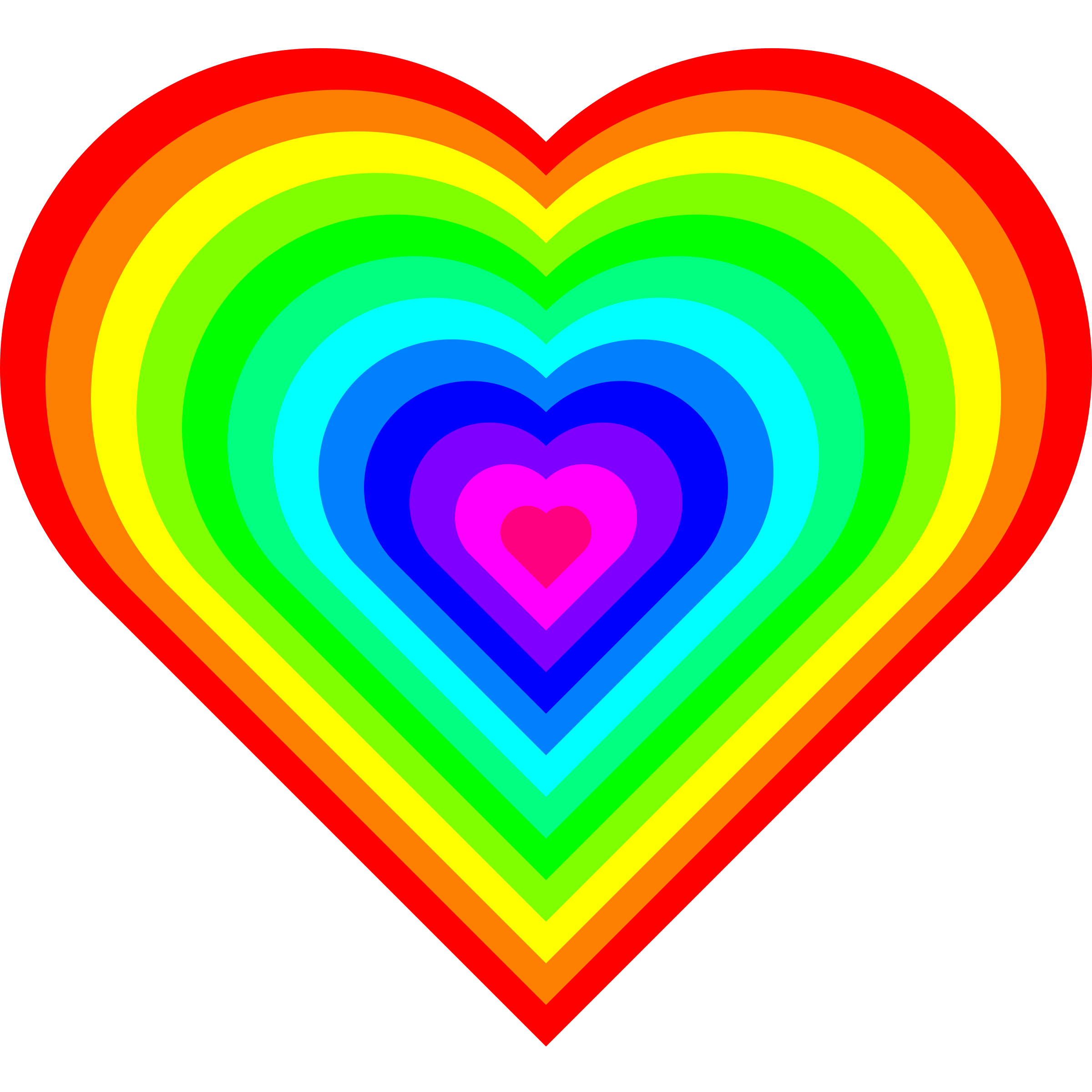 Geometric color heart big. Colors clipart animated