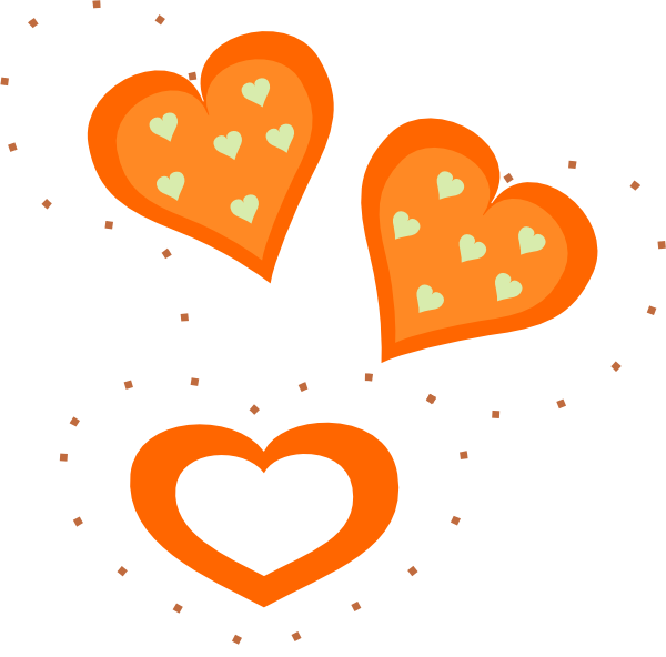 Orange hearts clip art. Valentine clipart animated