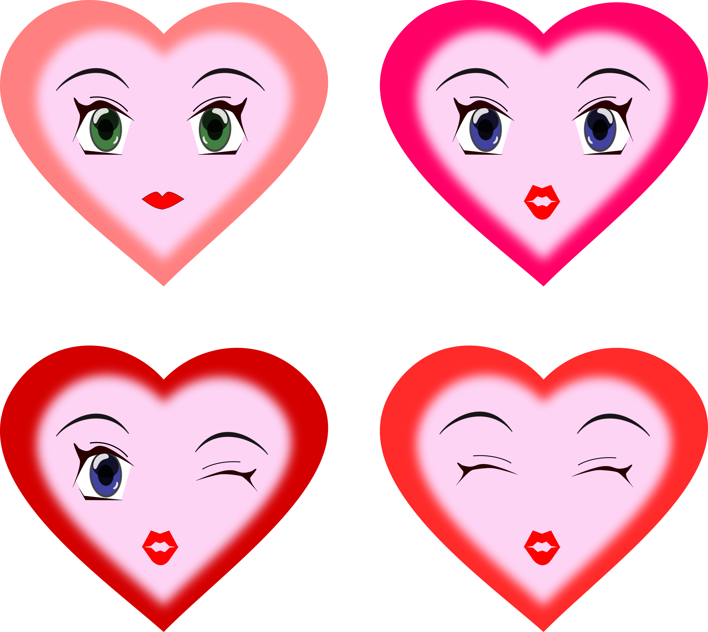 Faces. Clipart heart animated