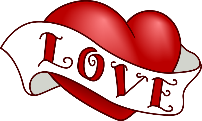 Pic of heart banner. Fire clipart love