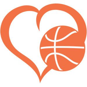 Silhouette design store view. Hearts clipart basketball