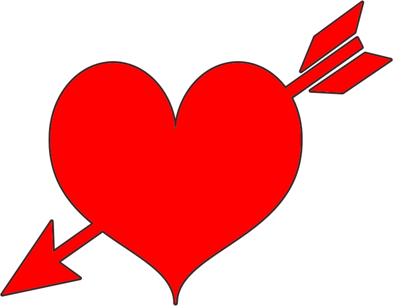 Red pencil and in. Clipart heart body