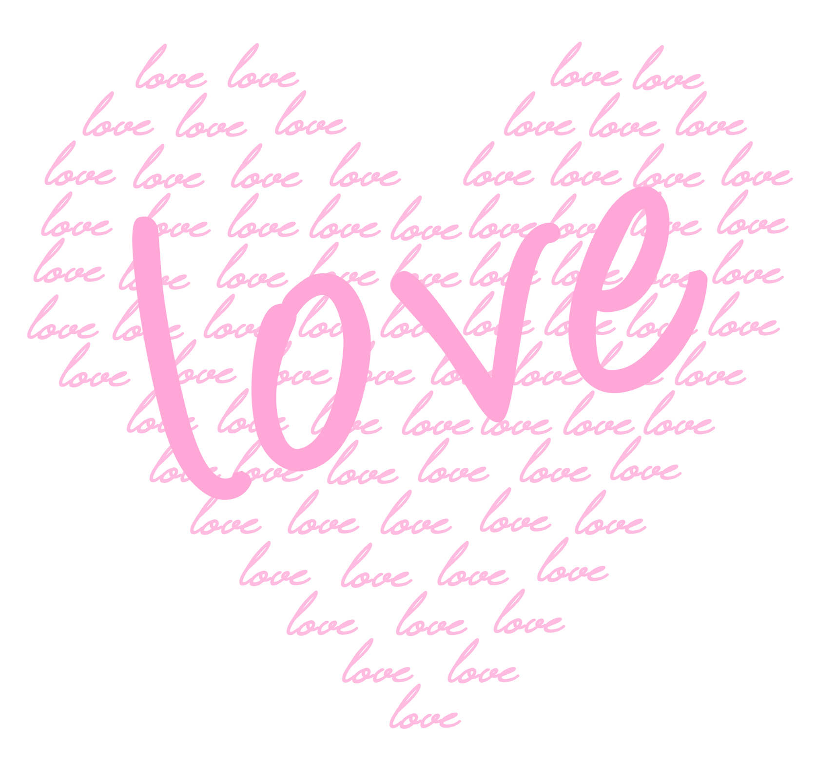 Clipart heart calligraphy. Soft pink of love