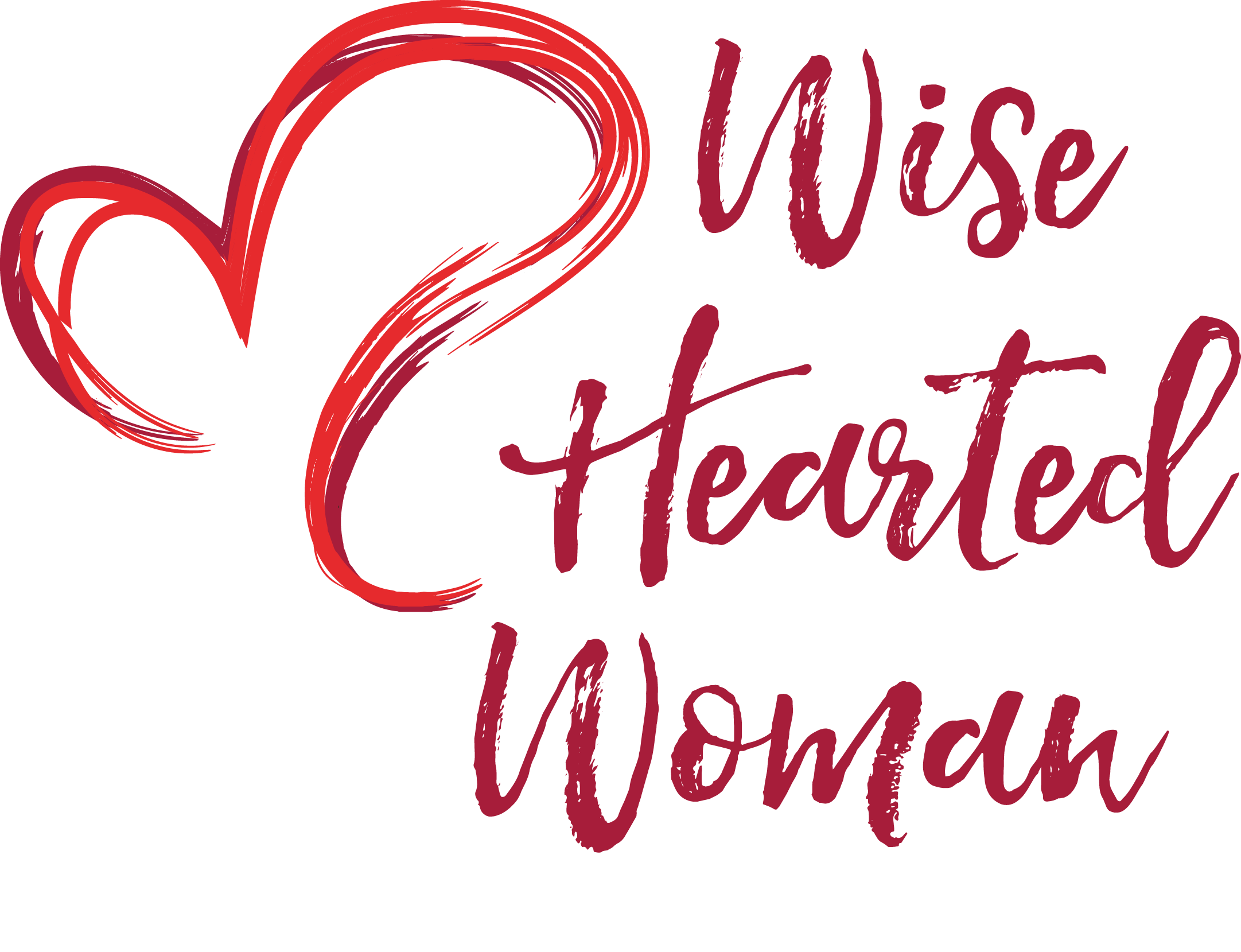 Wise hearted woman embrace. Clipart heart calligraphy