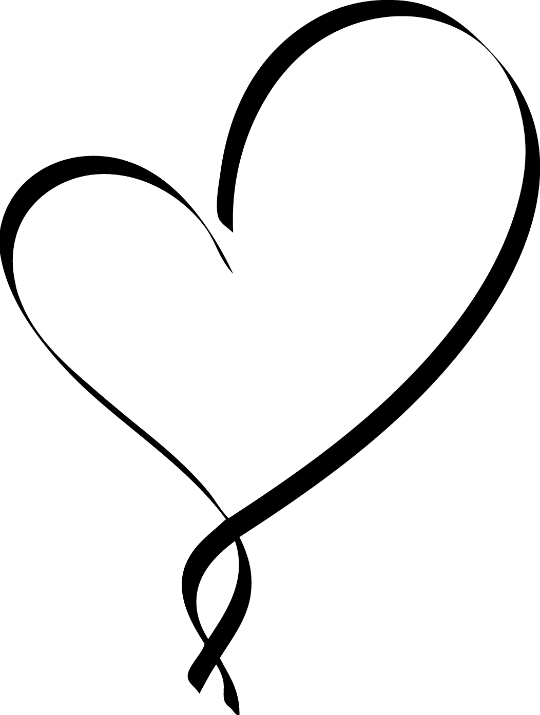 Outline pencil and in. Clipart heart calligraphy