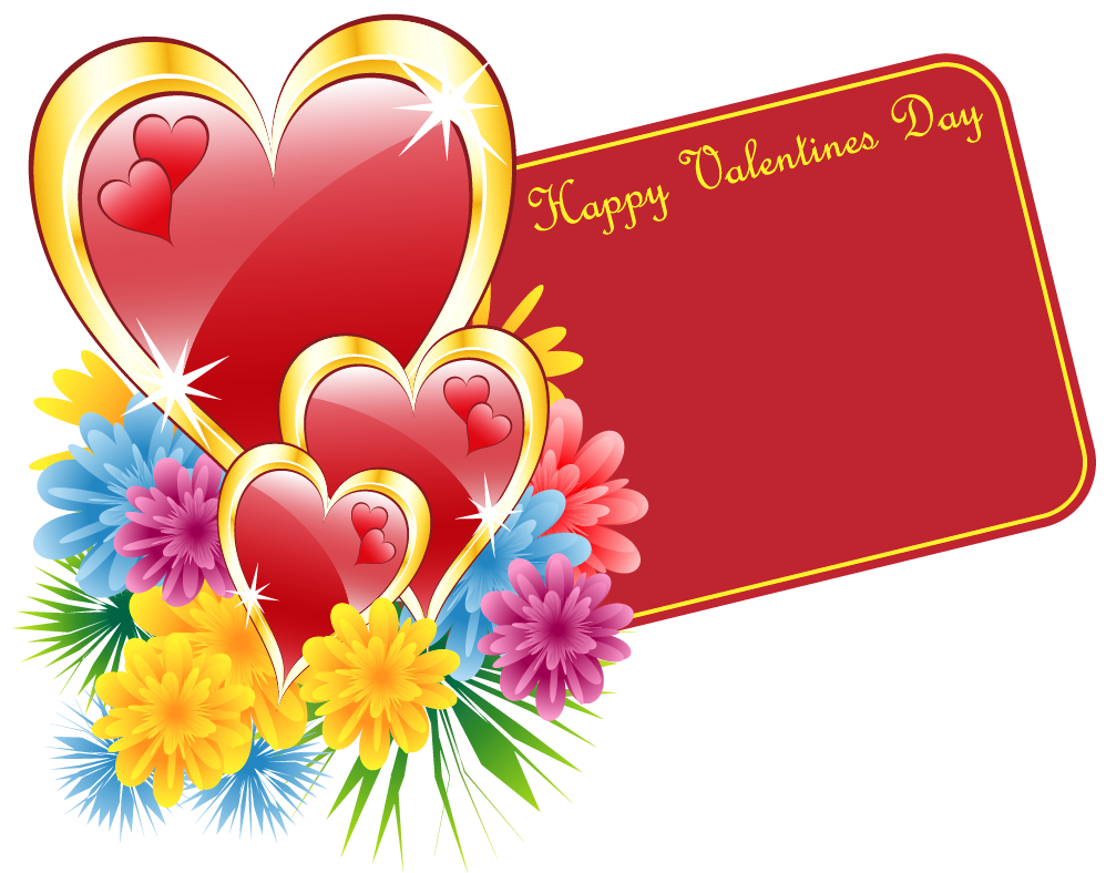 Valentine with and flowers. Hearts clipart card