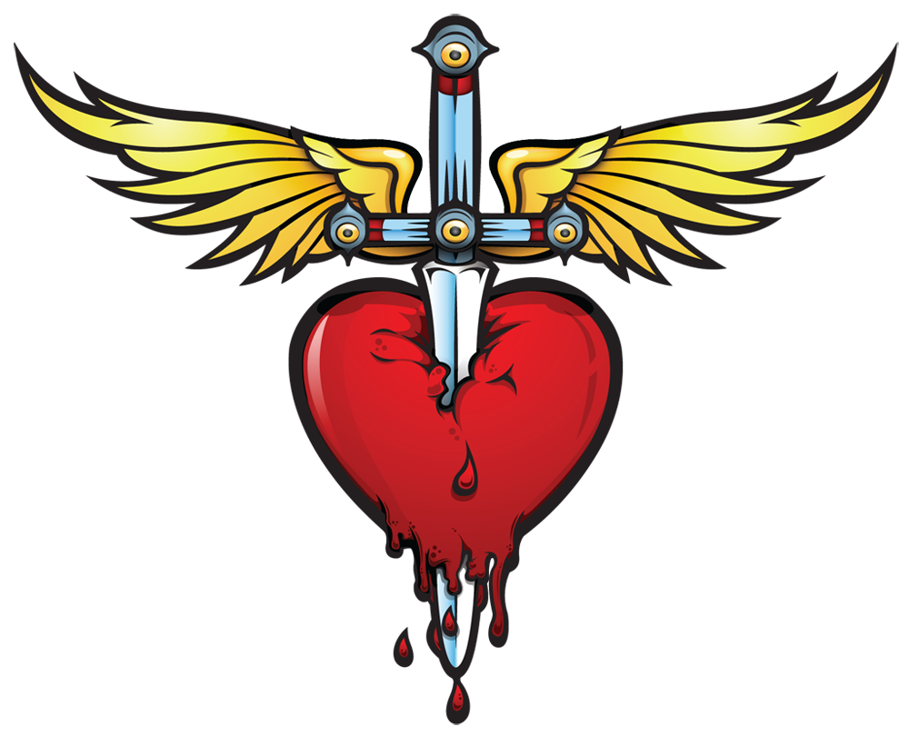 Clipart heart dagger. And bonjovi tatouages pinterest