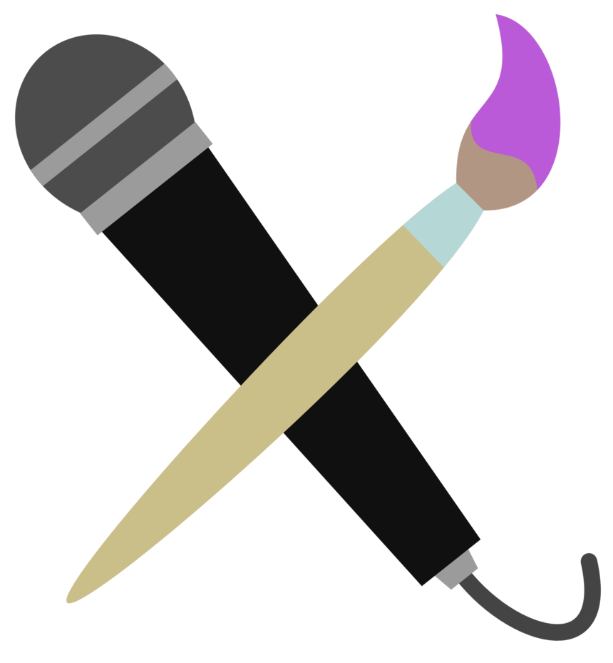 Microphone and brush cutie. Clipart heart dagger