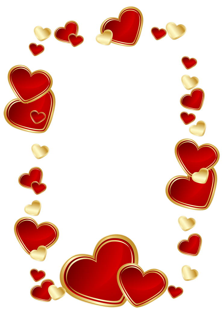 Heart clipart decoration. Gold and red hearts