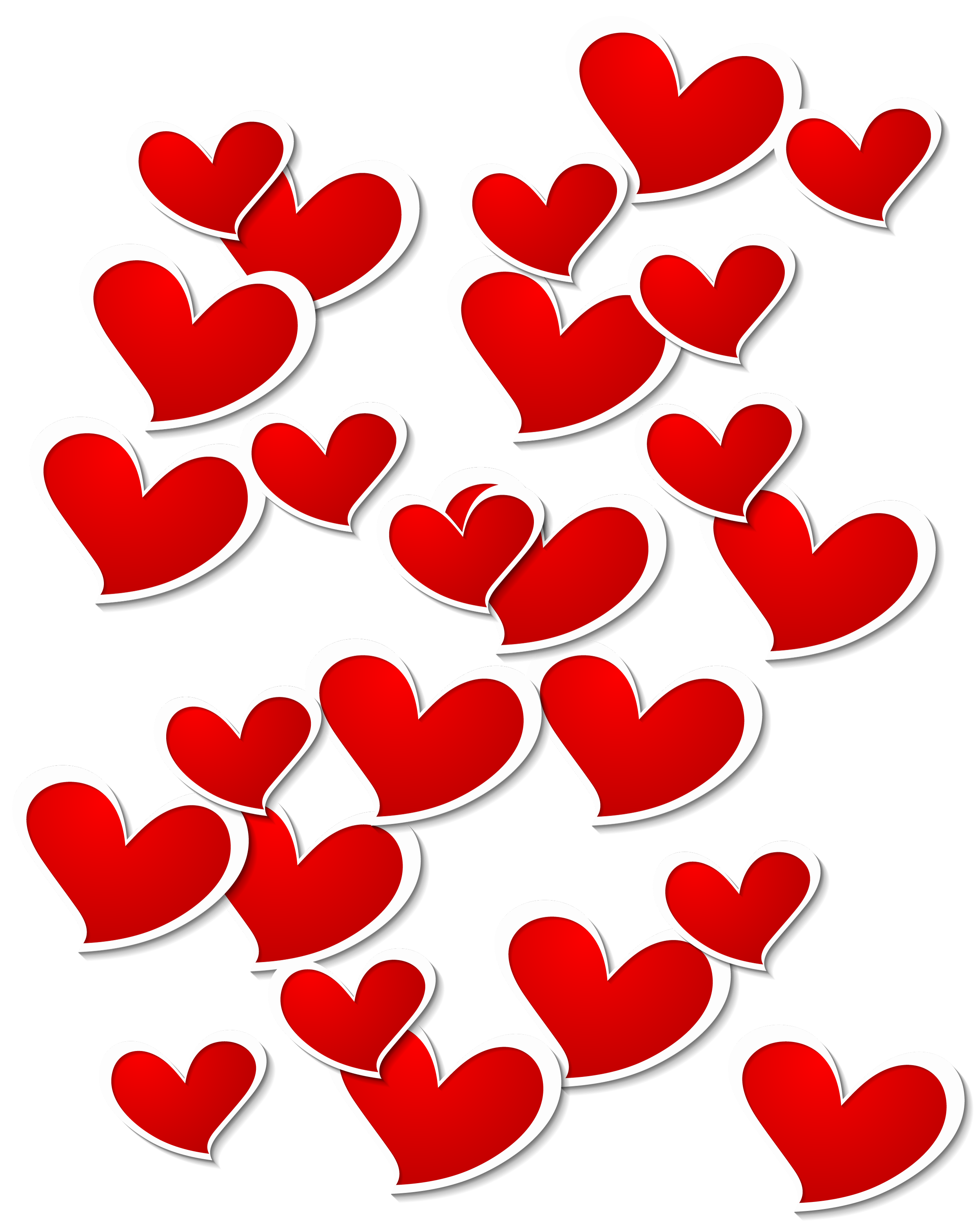 Transparent red white hearts. Clipart heart decoration