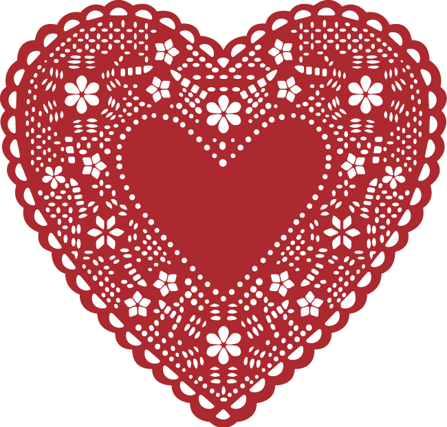 Clipart heart doily. Valentine s day lace