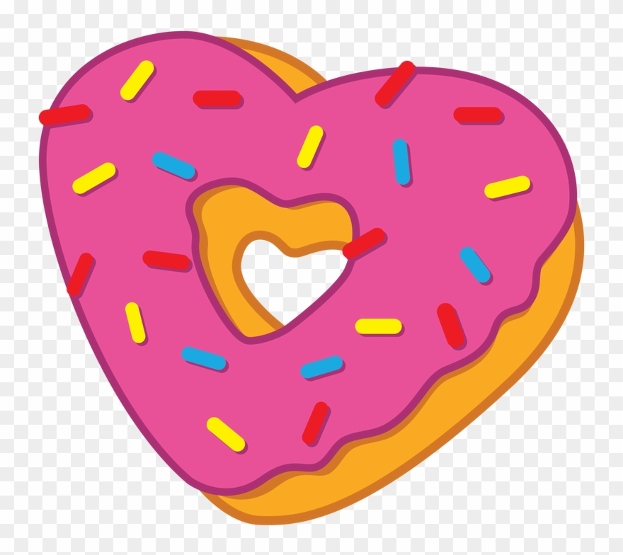 Donuts clipart valentines. Heart donut cartoon png