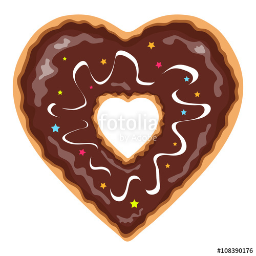 Donut clipart heart. Shaped and chocolate covered