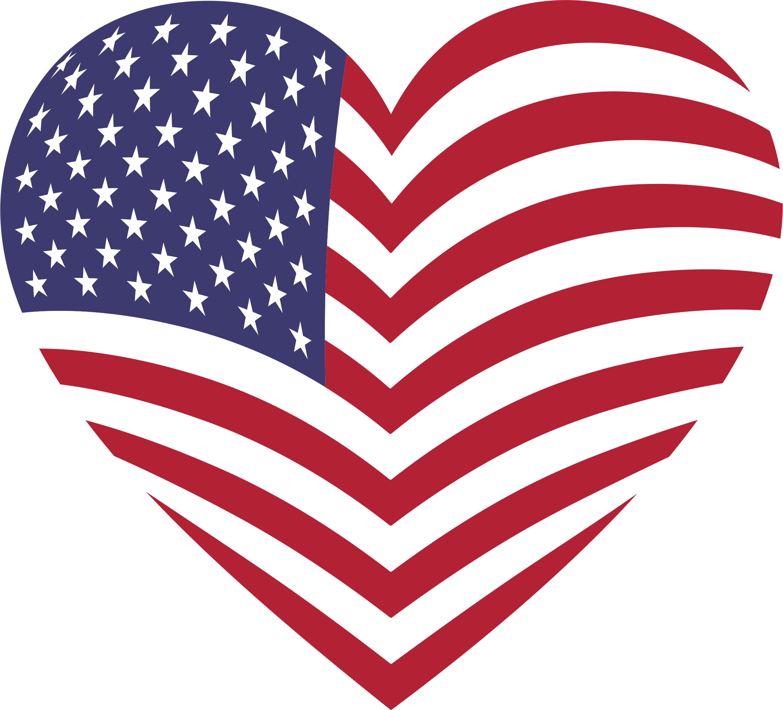 D america big image. Heart clipart flag